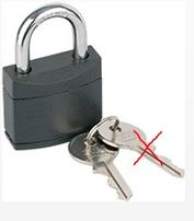 Padlock 40mm Full Plastic Cover, KA 2, Shackle 6.2mm, 41x36x