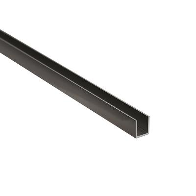 Alu. U-Channel, F/8mm Glass,Black Anod.,2,5 Mtr, 1x12x10,2mm