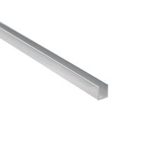 Alu. U-Channel, F/6mm Glass, Polished Alu, 2,5Mtr,1x12x8,2mm
