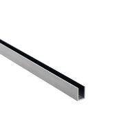 Alu. U-Channel, F/6mm Glass, Brushed Alu, 2,5Mtr, 1x12x8,2mm