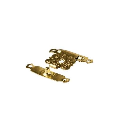 Clasp, Steel, Brass Plated, 22 x 31mm, Incl. ø2x8mm Screws