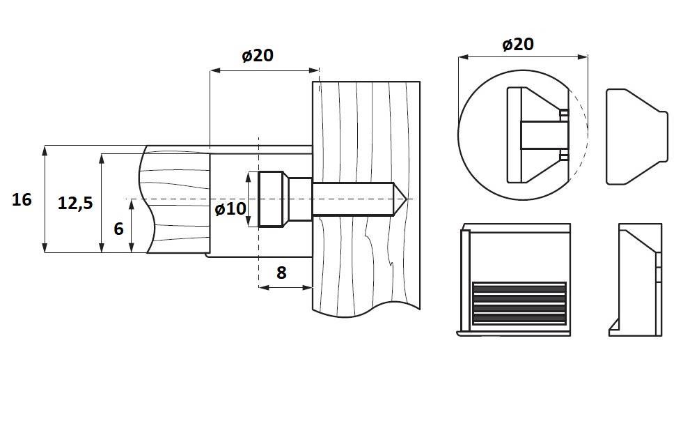 Snapfix No.16-02, Bore ø20mm, Brown PA,No Screw,W/16mm Panel